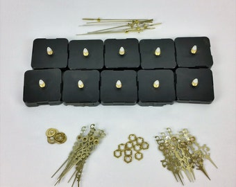 10 Quartz Clock Movement Mechanisms and Serpentine Style Brass Hands Set Kit DIY Repair Parts