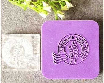 "Wheat ""Handmade 100% Natural"" Acrylic Soap Stamp"