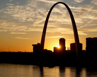 Downtown St. Louis  Gateway Arch on the riverfront at sunset original photograph