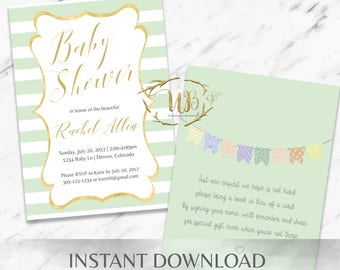 Green Baby Shower Invitation Template - INSTANT Download