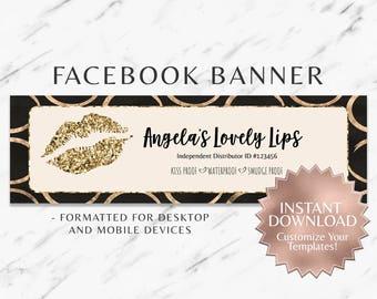 Gold|Circles|Glitter|Black|LipSense Facebook Banner|Makeup Facebook Banner|Business|Social Media|Instant|Template|Facebook Cover|Custom|Lips