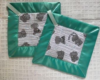 Baby elephant lovey blankets-security blanket-sensory blanket-baby shower gift