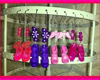 Barbie Doll Shoe Earrings, 4 Pairs, Pink, Purple, Neon Pink, Silver drop / dangle earrings. Bead earrings. High heel shoes. Jewellery Charms