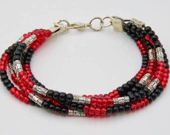 Beaded Bracelet Red, Black