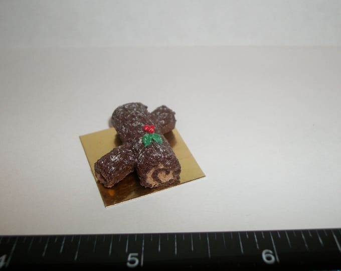 Featured listing image: 1:12 One Inch Scale Dollhouse Miniature Handcrafted Christmas Yule Log Dessert Cake Doll Food