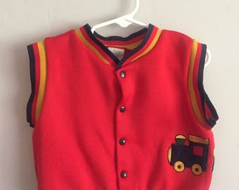 1970s Red Sweater Vest with Striped Banding and Train Decal 12 Months