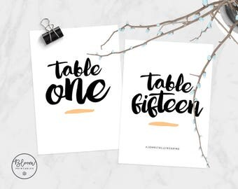 Wedding Table Numbers, Printable Table Numbers, Personalized Table Numbers, Modern Wedding, Wedding Stationery