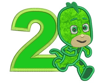 2nd Birthday Gekko Pj Masks Applique Design Instant Download 3 sizes