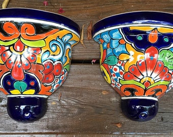 Talavera Wall Pot Set / Talavera Pottery / Talavera Jardenere Pots / Talavera Planter Set