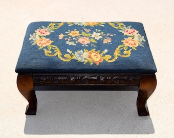 Antique Needlepoint Footstool, Halifax Chair Seat Co., Blue Flower Needlepoint footstool, stool, cottage decor, french ottoman, foot stool