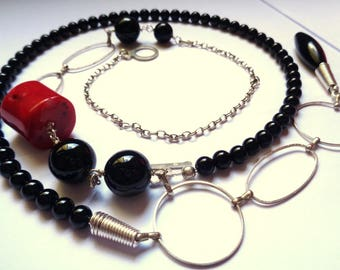925 silver Obsidian Black agate Black necklace and Philippine coral