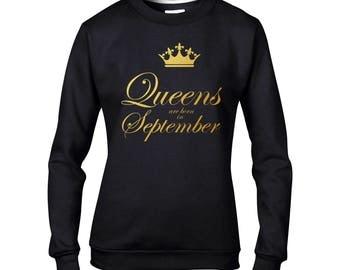 Gift for her Queens born in September sweatshirt gold