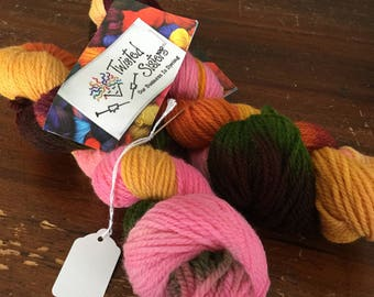 Twisted Sisters hand painted fine wool yarn in Jazz