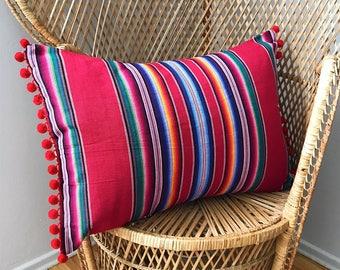 Bohemian Guatemalan Pom Pom Pillow Cover in Red