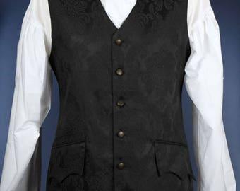 "Long 18th Century Style Waistcoat - Black Damask Brocade - Chest 34"""