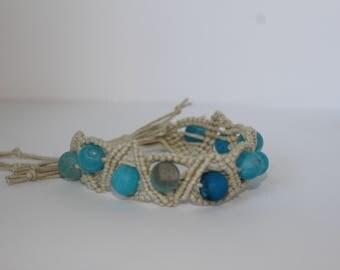 Adjustable Macrame and Sea Glass Bracelet