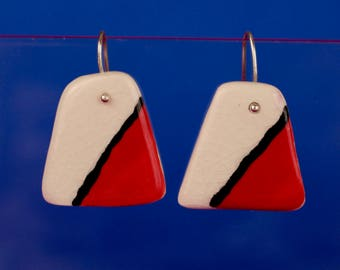 Red geometric earrings | Trapezoid earrings | Porcelain earrings | Ceramic earrings | Polka dot earrings | Mothers day | Mom gifts