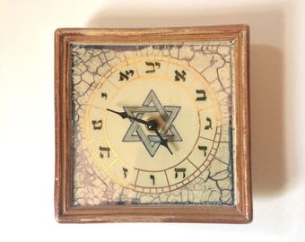 Ceramic-faced Clock with Hebrew numbers, wall art