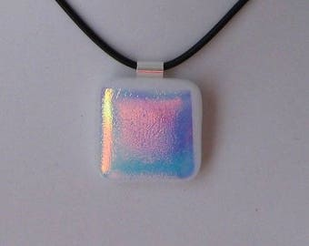 Nice little fused glass, genuine silver bail, matching necklace pendant