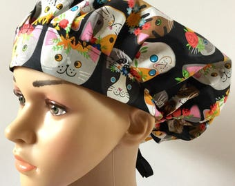 Cats With Flower Crowns! Women's Surgical Scrub Hat, Bouffant Style