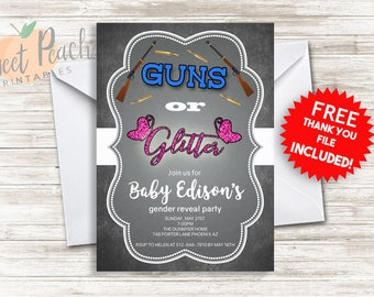 Guns or Glitter Gender Reveal Party Invite 5x7 Digital Personalized Gender Reveal Invitation, Glitter or Guns, Pink or blue