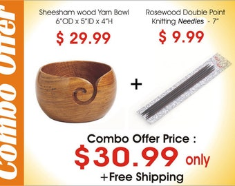 Combo offer Wooden yarn Bowl + DP Needles
