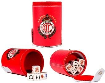 Toluca Cubilete Poker Dice Shaker Cup Game Party Gift ManCave Father Dad Husband Man Men Christmas Birthday Gift Futbol Poker Stars Hot Gift