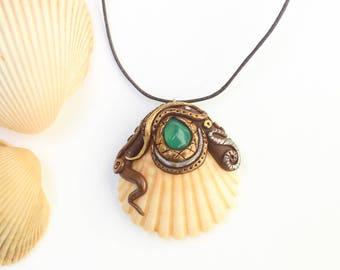 Nimiane Seashell Necklace, Handmade Jewelry, Shell Pendant, Hippie Boho Fashion, Nature Jewelry, Festival Jewelry, Mermaid, Beach Jewellery