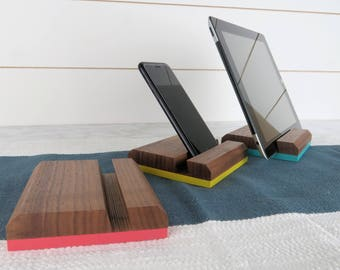 Tablet Stand, Phone Stand Wood, iPhone Stand, iPad Stand Wood, Cell Phone Stand, Walnut, Phone Docking Station, Cell Phone Holder