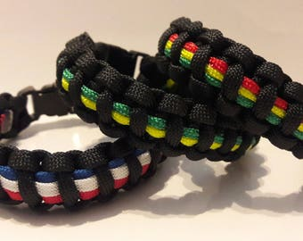 Rasta color bracelet, Jamaica color bracelet, USA color bracelet, paracord bracelet, 4th of July, Jamaica flag.
