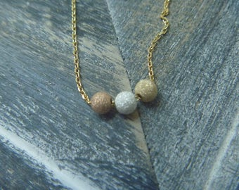 stardust beads necklace rose gold and silver