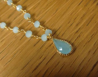 sky blue pearl apatite necklace