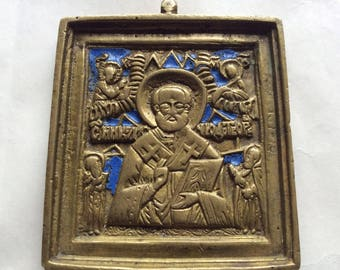 Old Russian icon St. Nicholas, bronze, enamel.