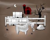 Gothic Schnauzer Barn Hunt Matted Print