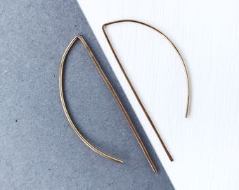 Gold ear wires, minimalist earrings, delicate jewelry, contemporary hoops, gift under 10, Valentine's Day, modern jewellery