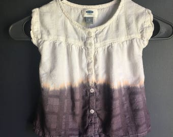 2 T short sleeve soft cotton shirt, dipped dyed, ombre effect