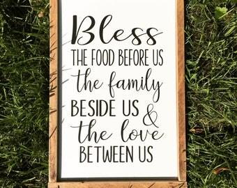 Bless The Food Before Us Sign.  Farmhouse Decor. Farmhouse. Dining Room Decor.