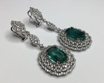 Estate GIA 18K White Gold 17.08 CTW Emerald & Diamond Drop Dangle Earrings