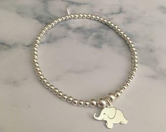 Sterling Silver stretch bracelet with Elephant charm