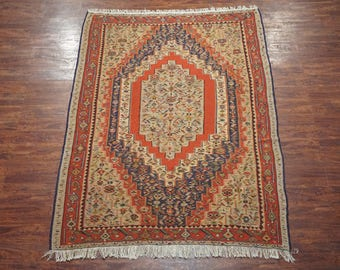 6X9 Antique Persian Senneh Kilim Hand-Knotted 1940's Oriental Wool Area Rug (6.3 x 9)