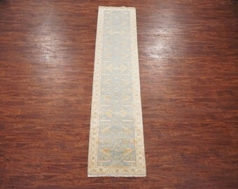 Antiqued 3X12 Oushak Runner Area Rug - Hand-Knotted Vegetable Dyed Wool - Light Blue Oriental Carpet (2.7 x 11.9)