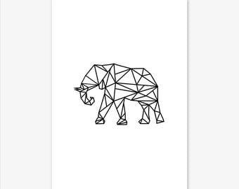 Geometric Elephant Print, Nursery Prints, Nursery Decor, Elephant Print, Elephant Art, Elephant Wall Art, Baby Shower Gift, Animal Prints