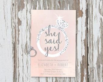 Engagement Party Invitation, engagement ring, engagement party, engagement part invite, she said yes, printable invite, printable, diamond