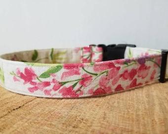 "Pink Watercolor Flower Dog Collar - Summer Dog Collar - Floral Bouquet Dog Collar - Designer Dog Collar ""The Caroline"""