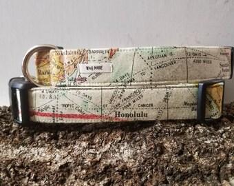 """Cool Dog Collar / Map Dog Collar / Colorful Dog Collar  /  World Map Dog Collar / Adventure Geography Gift / World Traveler / """"The Wonderer"""""""