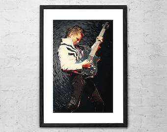 Matthew Bellamy - Muse -  Illustration - Matthew Bellamy Poster - Muse Band - Rock Poster - Muse Print - Music Wall Art - Alternative Rock