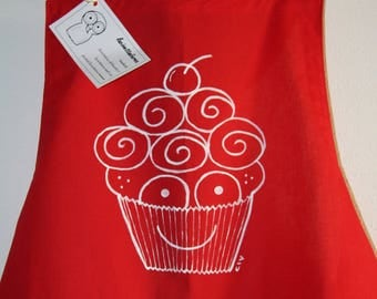 Kitchen apron-hand painted apron-full grambiule-cupcake drawing-Red apron-apron with bib-bow