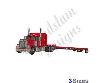 Flatbed Semi Truck - Machine Embroidery Design