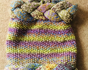 Colourful handmade knitted wrap,neck warmer,hoodie,unique
