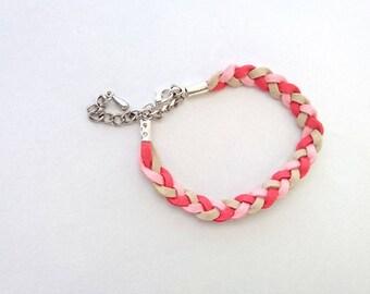 Three colors woven suede bracelet